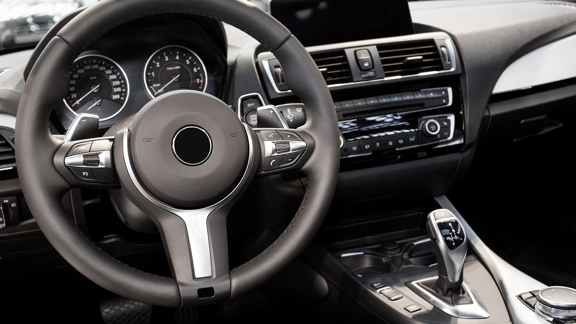 Interior of car cockpit